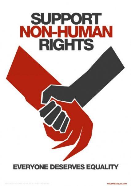 supporta i diritti dei non-umani. non è giusto discriminare Sandro Bondi, ha anche lui un cuore, da qualche parte.